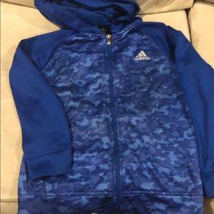 Adidas blue camo zipper hoodie. Size 10/12